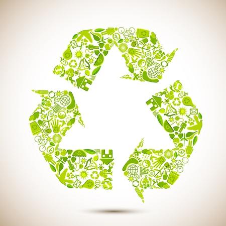 icono ecologico: Ilustraci�n de reciclar s�mbolo formado por muchos elementos de reciclaje Vectores