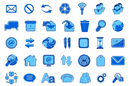 illustration of set of many office icon for web Stock Vector - 9378363