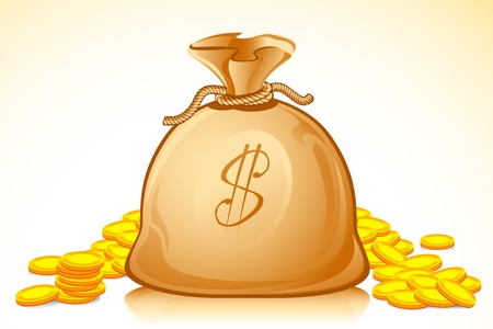 illustration of money bag full of golden dollar coin