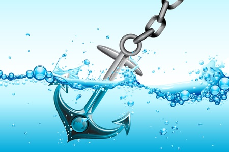 illustration of metallic anchor sinking in water waves