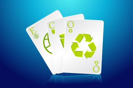 ilustration of eco playing card with recycle symbols Stock Vector - 9378351