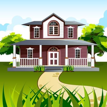 maison de maitre: Illustration de la fa�ade de la maison � fond naturel