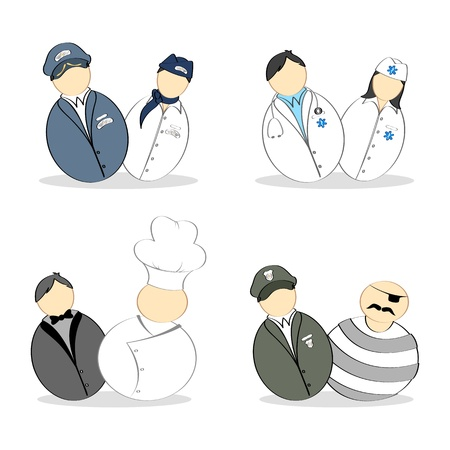 illustration of set of pair of people from different profession Stock Vector - 9378353