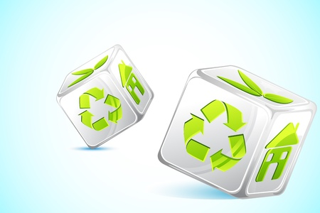 illustration of dice with different recycle symbol Vector
