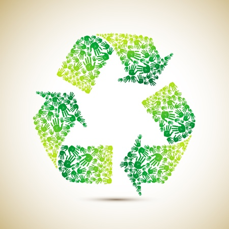 environmental awareness: illustration of recycle symbol made of human hand