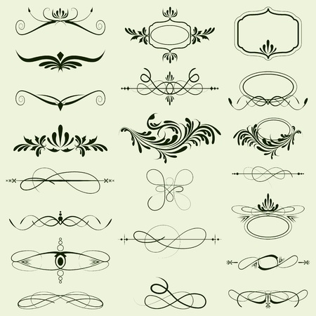 illustration of set of vintage design elements Vector