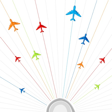 illustration of route showing flying of airplane in different destination Stock Vector - 9378360