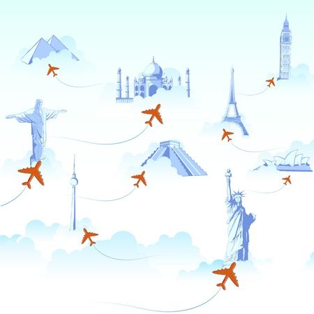 illustration of different monuments on cloud with airplane flying showing travel destination Vector
