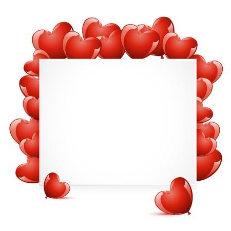 Ilustración de globo de forma de corazón alrededor de tarjeta