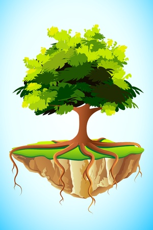 Abbildung Baum auf Globus mit Wurzeln hält es