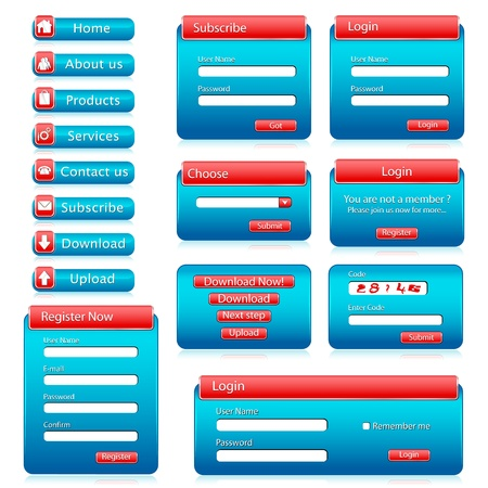 illustration of set of web form templates on isolated background Stock Vector - 9383090