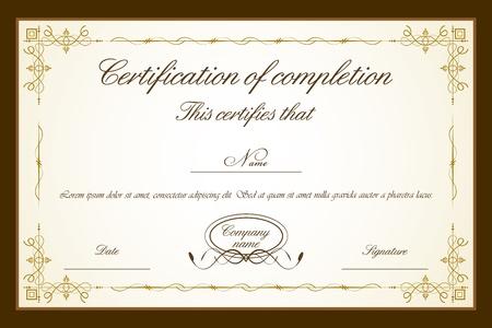 certificat diplome: Illustration du mod�le de certificat avec floral frame