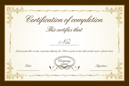 certificate: illustration of certificate template with floral frame