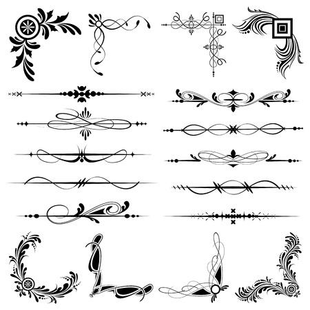 filigree: illustratie van reeks van vintage designelementen voor frames
