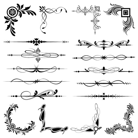 divider: illustration of set of vintage design elements for frames