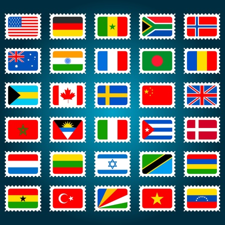 illustration of set of stamp for different countries Vector