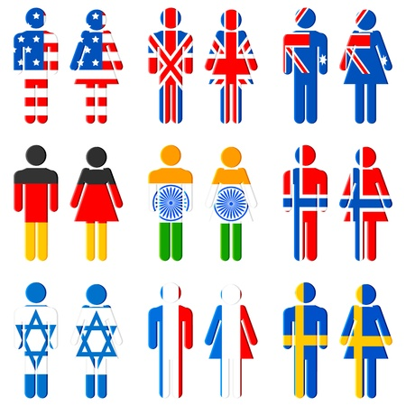 illustration of set of human icon for different nations on isolated background Vector