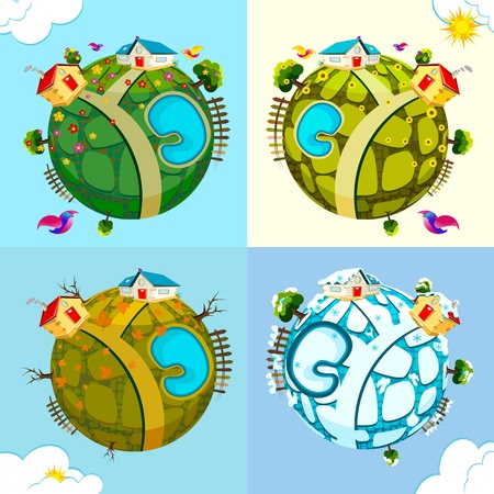 illustration of earth in spring,summer,autumn and winter Vector