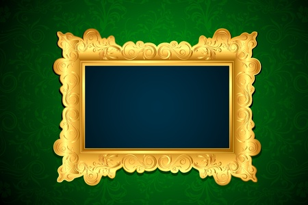 frame hanging on wall with floral wallpaper photo