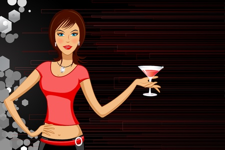 sexy young couple: illustration of lady with cocktail glass on abstract background