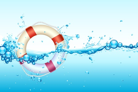 rubber ring: illustration of lifebouy in splash of wavy water Illustration
