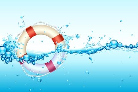 Ilustración de lifebouy en salpicaduras de agua ondulada
