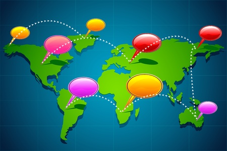 linking: illustration of chat bubble on world map showing global communication Illustration