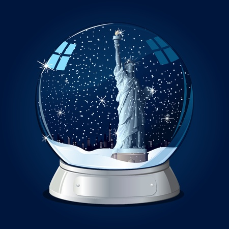 illustration of Statue of Liberty in glass globe with snowflakes Vector