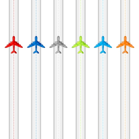 airline: illustration of route showing flying of airplane in different destination