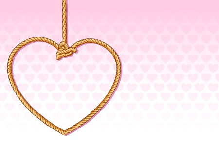 hearty: illustration of heart shape execution rope on hearty background