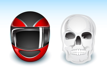 illustration of helmet and skull showing choice between safety and death Stock Vector - 9442660