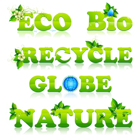 illustration of set of green text for eco, recycle, globe and nature Vector