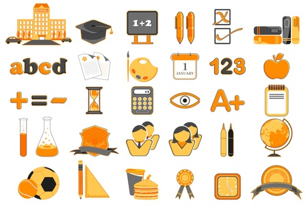 illustration of set of education icon on isolated background Vector