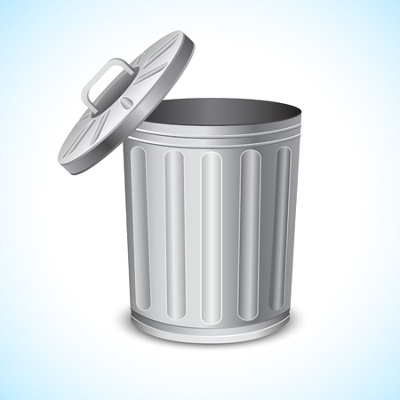 rubbish bin: illustration of trash can on abstract background