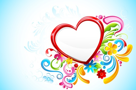 modern love: illustration of floral heart on abstract background