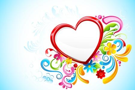 truelove: illustrazione del cuore floreale su sfondo astratta Vettoriali