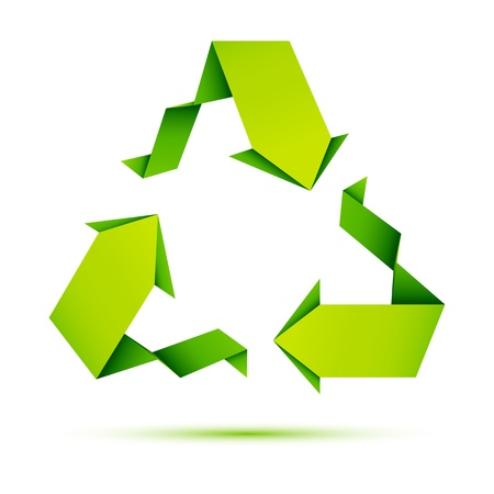 recycling paper: illustration of recycle symbol made of origami paper