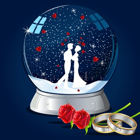 illustration of couple kissing in glass globe with hearts and ring