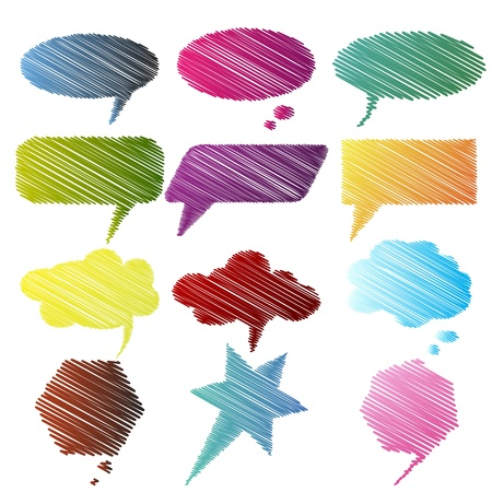 illustration of set of colorful sketchy speech bubble on isolated background Vector
