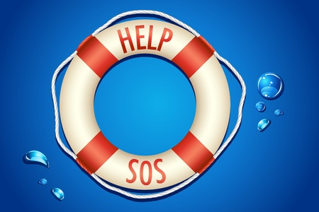 life ring: illustration of help and sos written on lifebouy