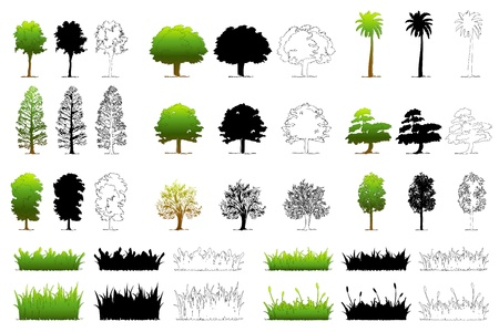 illustration of set of different tree on isolated background Stock Illustration - 9440106