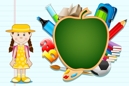 illustration of education item poping out from apple shape black board with student standing Çizim