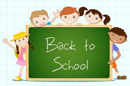 illustratie van student permanent met schoolbord op abstracte achtergrond