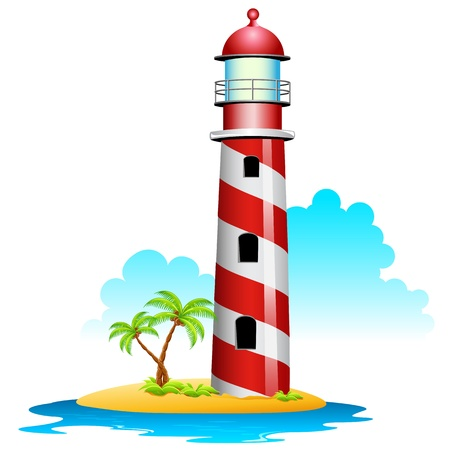 seashore: illustration of lighthouse with palm tree on island