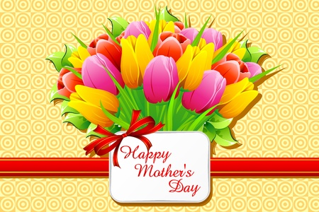 present day: illustration of bunch of tulip with card wishing happy mothers day Illustration