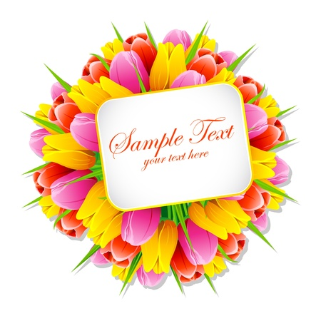 illustration of bunch of tulip with sample text card Stock Vector - 9440111