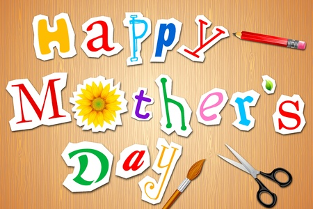 mothering: illustration of happy mothers day craft on table with scissor and pencil