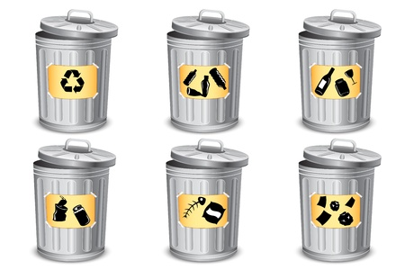 illustration of trash bin for different type of garbage Vector