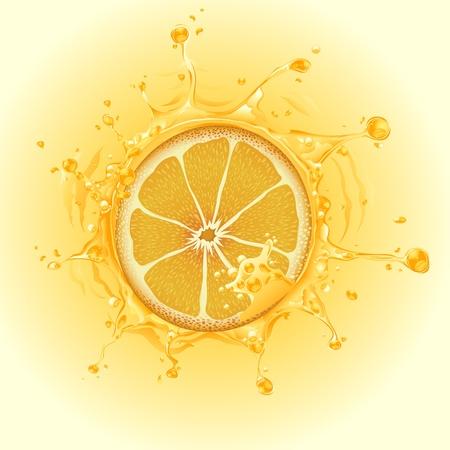 organic fluid: illustration of slice of orange in water splash Illustration