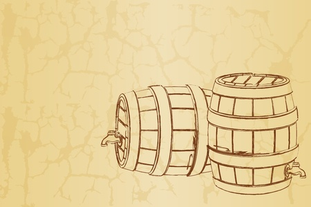 cask: illustration of beer barrel on abstract vintage background
